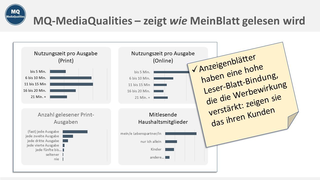 MQ MediaQualities Muster-Charts, zeigt wie MeinBlatt gelesen wird
