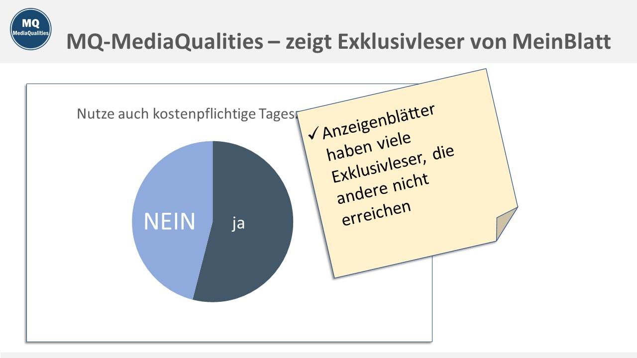 MQ MediaQualities Muster-Charts, zeigt Exklusivleser von MeinBlatt